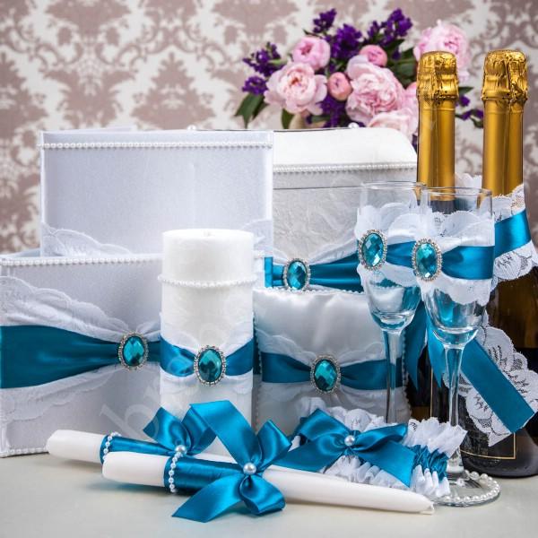 Украшения свадьбы бирюзовая